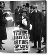 Newsboy Ned Parfett Announcing The Sinking Of The Titanic Acrylic Print by English School