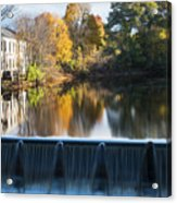 Newton Upper Falls Autumn Waterfall Reflection Acrylic Print