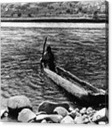 Nez Perc� Canoe. Nez Perc� Man Acrylic Print by Everett