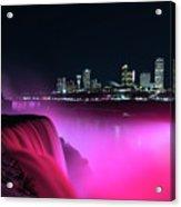 Niagara Falls At Night - Pink Acrylic Print