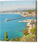 Nice Coastline And Harbour, France Acrylic Print by John Harper