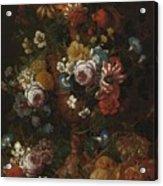 Nicolaes Van Veerendael Antwerp 1640 - 1691 Still Life Of Roses, Carnations And Other Flowers Acrylic Print