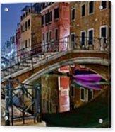 Night Bridge In Venice Acrylic Print