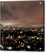 Night Cityscape Acrylic Print by People are strange by Patricia Kroger