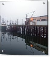Night Fog Along The Dock Acrylic Print