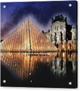 Night Glow Of The Louvre Museum In Paris Acrylic Print
