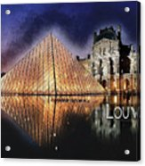 Night Glow Of The Louvre Museum In Paris  Text Louvre Acrylic Print