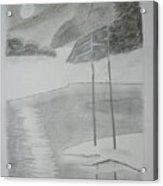 Night Lake.black Pencil 1990 Acrylic Print