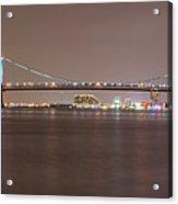 Night On The Delaware - The Benjamin Franklin Bridge Acrylic Print