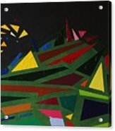 Night On The Green Fractures And Lights Acrylic Print