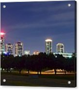 Night Pano Of Fort Worth Acrylic Print