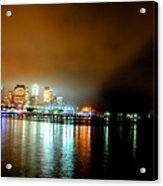 Night Reflections Hudson River Ny Nj Acrylic Print
