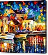 Night Riverfront - Palette Knife Oil Painting On Canvas By Leonid Afremov Acrylic Print
