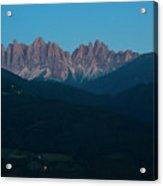 night scene of Dolomites Alps, val di Funes Acrylic Print