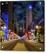 Night Shot Of Broad Street - Philadelphia Acrylic Print