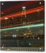 Night Shot Of Downtown Los Angeles Skyline From 6th St. Bridge Acrylic Print
