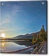 Night Sky Panorama Of Pyramid Lake Acrylic Print