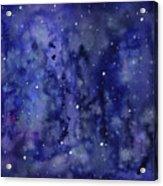 Night Sky Watercolor Galaxy Stars Acrylic Print