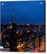 Night Tallinn City Line Panorama Acrylic Print