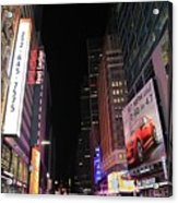 Night Time At Times Square Acrylic Print