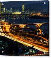 Night Traffic Over Han River In Seoul Acrylic Print