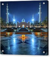 Night View At Sheikh Zayed Grand Mosque, Abu Dhabi, United Arab Emirates Acrylic Print