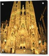 Night View Of Antoni Gaudis La Sagrada Acrylic Print