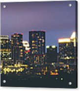 Night View Of Downtown Skyline In Winter Acrylic Print