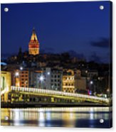 Night View Of Galata Bridge And Galata Tower. Acrylic Print