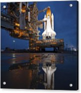 Night View Of Space Shuttle Atlantis Acrylic Print by Stocktrek Images