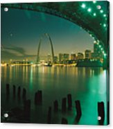 Night View Of St. Louis, Mo Acrylic Print by Michael S. Lewis