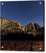 Night View Of The Upper Yosemite Fall Acrylic Print