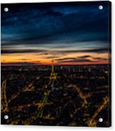 Night View Over Paris With Eiffel Tower Acrylic Print