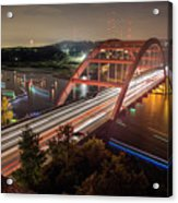 Nighttime Boats Cruise Up And Down The Loop 360 Bridge, A Boaters Paradise With Activities That Include Boating, Fishing, Swimming And Picnicking - Stock Image Acrylic Print