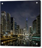 Nighttime Chicago River And Skyline View Acrylic Print