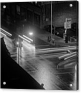 Nighttime Street Scene With Traffic Acrylic Print