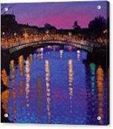 Nighttown Ha Penny Bridge Dublin Acrylic Print by John  Nolan