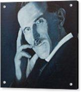 Nikola Tesla - Blue Portrait Acrylic Print