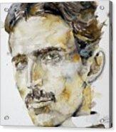 Nikola Tesla - Watercolor Portrait.6 Acrylic Print
