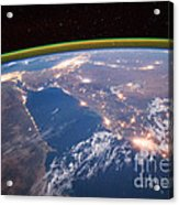 Nile River At Night From Iss Acrylic Print