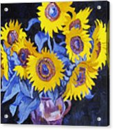 Nine Sunflowers With Black Background Acrylic Print