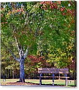 Ninety Six National Historic Site Bench In Autumn  Acrylic Print