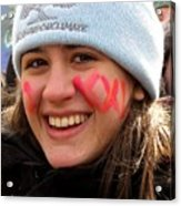 No Kxl Face Paint At Political Demonstration Acrylic Print
