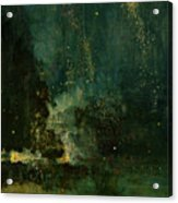 Nocturne In Black And Gold - The Falling Rocket Acrylic Print by James Abbott McNeill Whistler