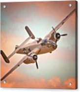 Pacific Princess North American B-25 Mitchell Across Rosy Skies Acrylic Print