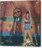 North American Indian Contemplating Acrylic Print