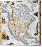 North American Map, 1851 Acrylic Print