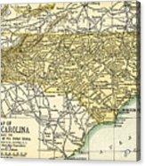 North Carolina Antique Map 1891 Acrylic Print