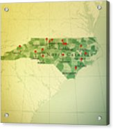 North Carolina Map Square Cities Straight Pin Vintage Acrylic Print