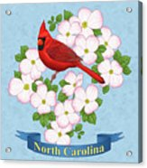 North Carolina State Bird And Flower Acrylic Print by Crista Forest